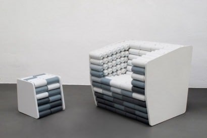 Spray cans armchair and pouf
