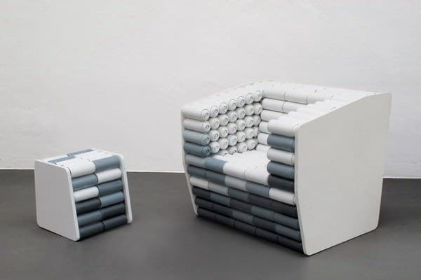 Spray cans armchair and pouf Recycled Art Recycled Furniture Recycled Packaging