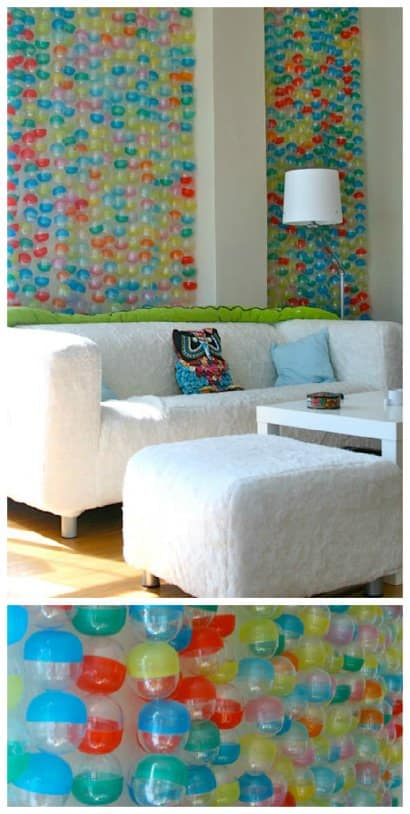 "Landlord-compliant ""wallpaper"" from recycled toy bubble capsules"