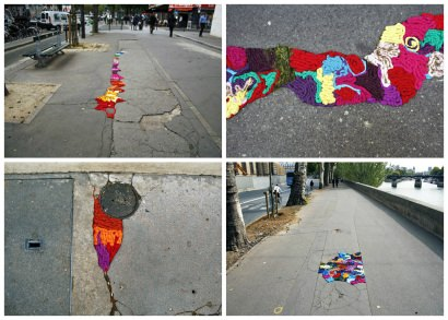 """Nid de poule"" Project: Paris Streets Potholes And Cracks Filled With Colorful Yarn"