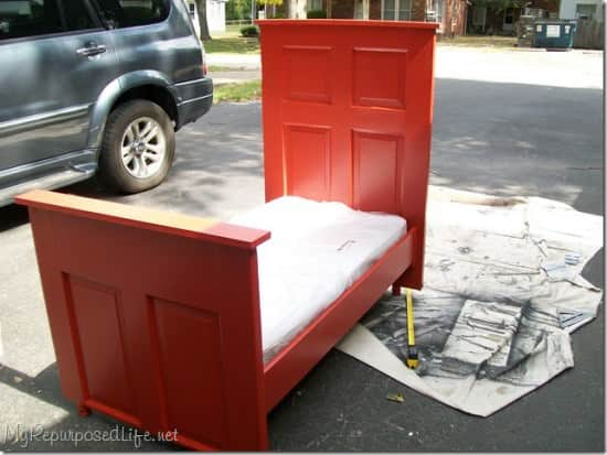repurposed door bed Door   > toddler bed ! in wood furniture diy  with Wood / organic red Kid Door Bed