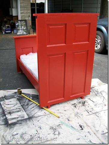 repurposed door bed2 Door   > toddler bed ! in wood furniture diy  with Wood / organic red Kid Door Bed