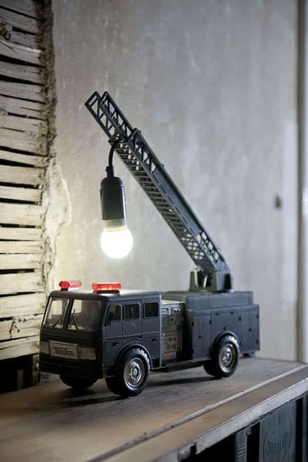 Upcycled Fire Truck Lamp in lights  with Upcycled remade Light design Art