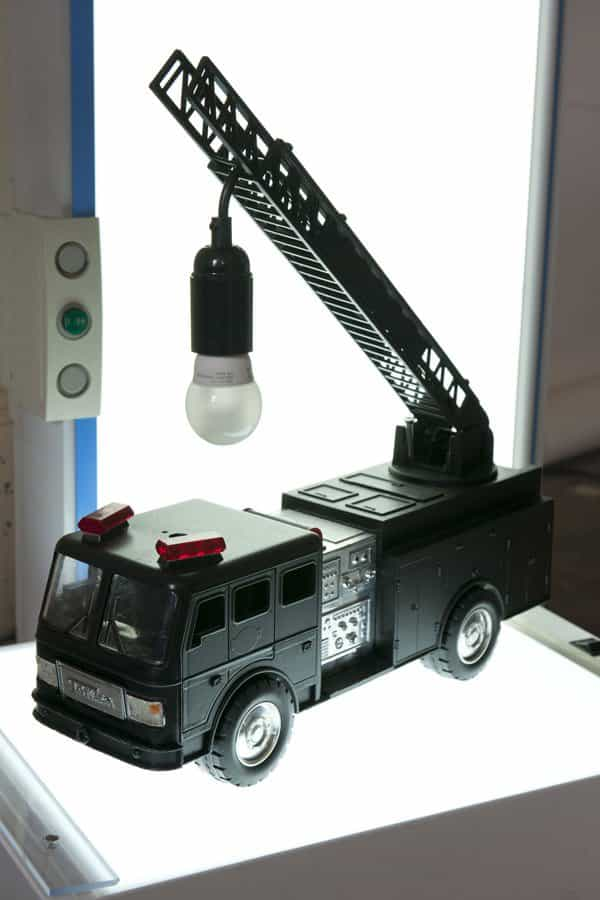 Upcycled Fire Truck Lamp in lights  with Upcycled remade Recycled Art Light design