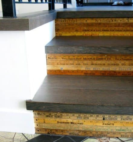 Repurposed Wooden Rulers As Stair Decoration