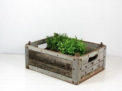 Milk Crate Herb Planter