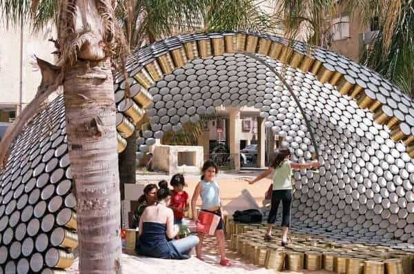 cans3 Bat Yam Cans Pavilion in packagings metals architecture  with pavilion festival Cans