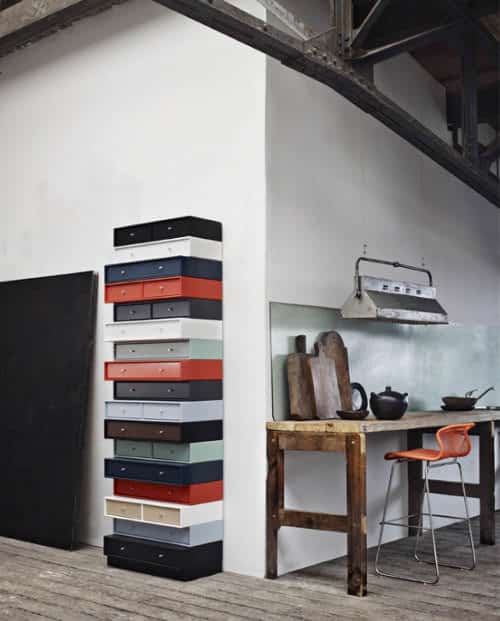 Column of drawers in wood furniture diy architecture  with Wood upcycled furniture Drawer