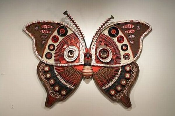 moth 1 Jf4ET 69 Butterfly of the trash in metals art  with Wires Sculpture china Can butterfly