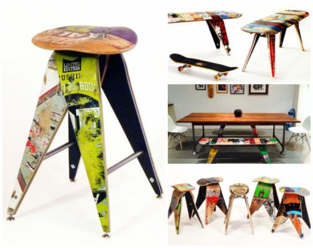 Skateboard Decks Upcycled Into Benches & Stools