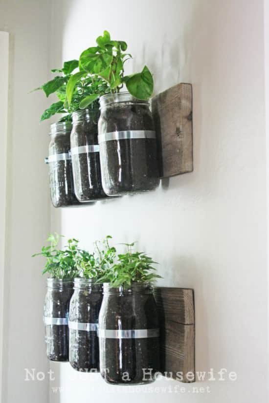Jar wall planter in wood diy  with Planter kitchen Jar Garden ideas