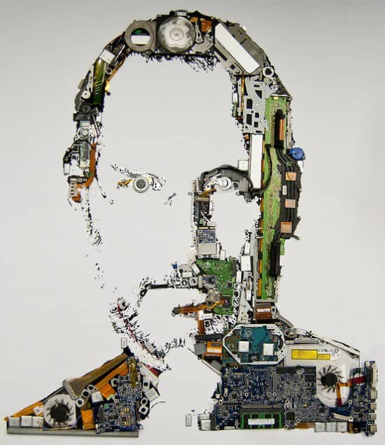 Digital Steve Jobs portrait in social electronics art  with Portrait Apple