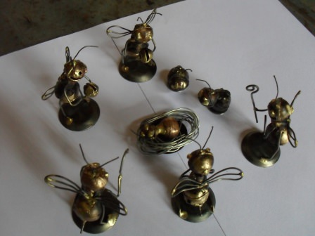 Recycled Bomb Shell Casing Bee Scupltures in art metals  with Sculpture Recycled Art Metal