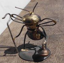 B001.father bee.FOB4 .95 Recycled Bomb Shell Casing Bee Scupltures in metals art  with Sculpture Metal Art