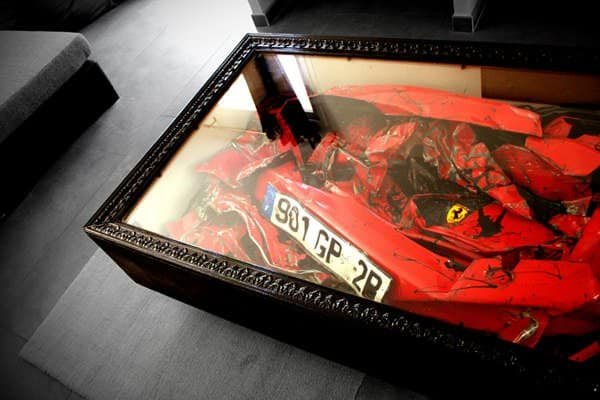 Crashed Ferrari becomes a table in furniture bike friends  with Table red design Automotive