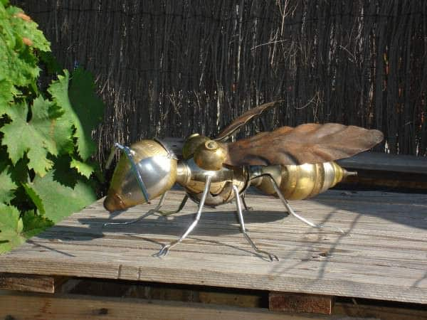 Recycled Wasp in art  with Spoon Sculpture Recycled Art Lamp