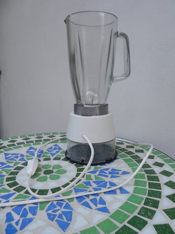 Lamp with a blender and round containers for CDs in lights diy  with Recycled Light Lamp Glass Art