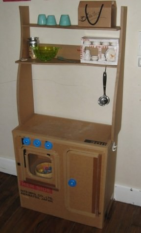 Cardboard children kitchen