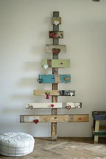 Recycle and make unique christmas trees in pallets 2 diy  with Wood Tree Reused Recycled Pallets organic DIY Christmas