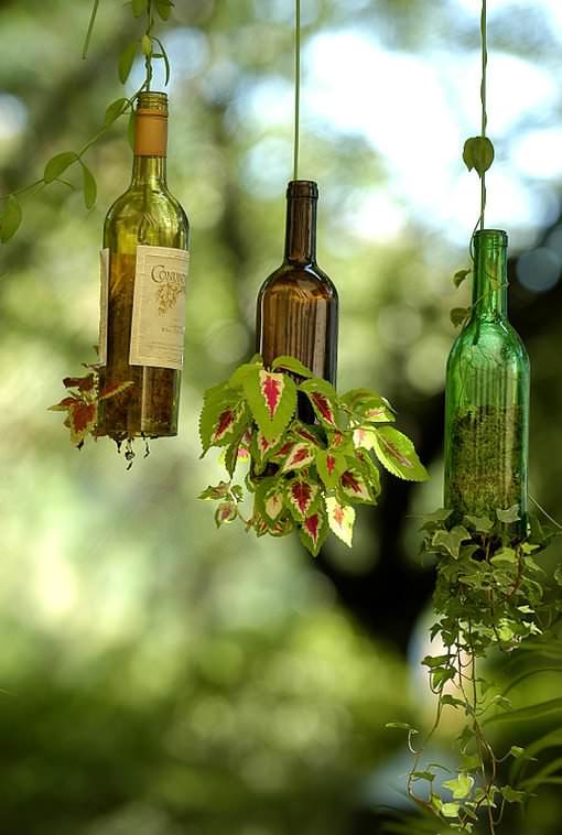 Planter from wine bottle in glass diy  with Wine Planter Garden ideas Bottle