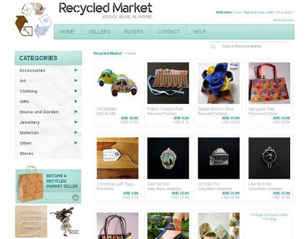 Recycled Market in social  with website Reused redesign Recycled materials Handmade