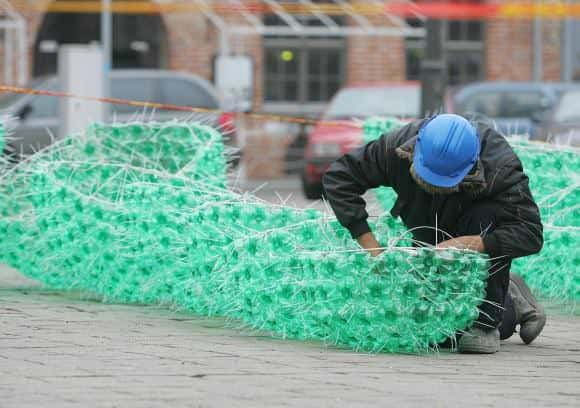 132265763419  Christmas Tree Made from 40,000 Recycled Plastic Bottles in social plastics packagings  with Zip Tree Holiday Christmas Bottle 