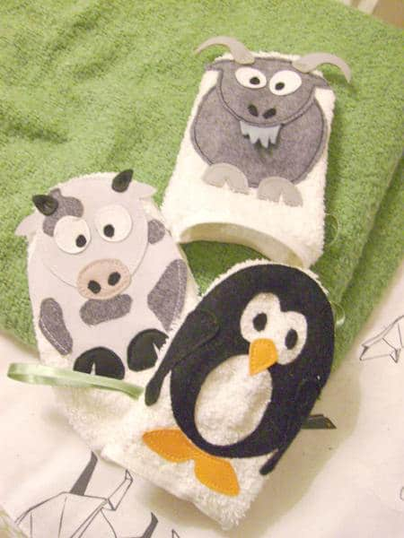 Washcloth in fabric diy  with felt