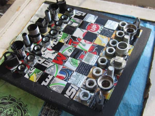 Recycled Chess board in metals diy  with Upcycled Recycled Game DIY