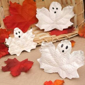 Halloween Craft Idea For Kids: Leaf Ghost