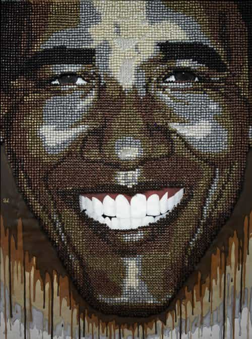 """art Mixtape"" Made With Over 50,000 Thumbtacks Recycled Art"