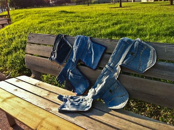 Old jeans as a saddlebags in fabric diy  with Upcycled jeans