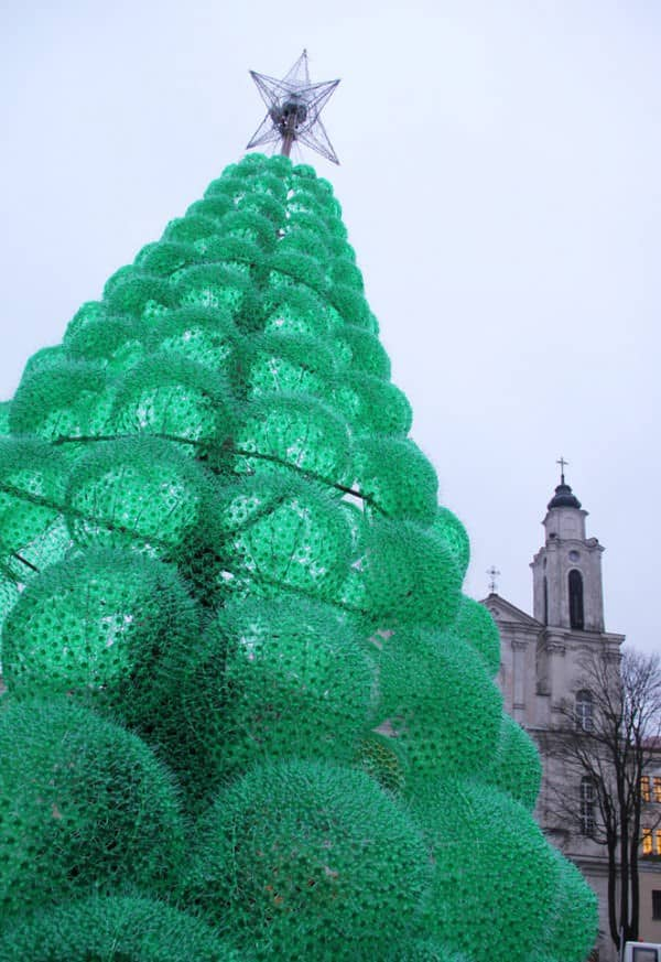 Christmas Tree Made from 40,000 Recycled Plastic Bottles in social plastics packagings  with Zipper Tree Holiday Christmas Bottle