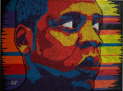 """Art Mixtape"" made with over 50,000 thumbtacks"