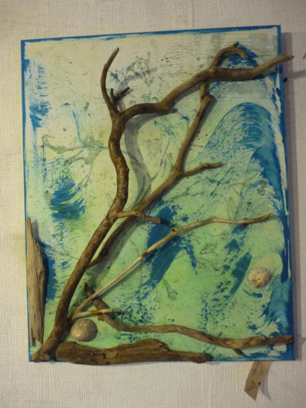 Driftwood Landscapes in art accessories  with T shirt Recycled Art Clock
