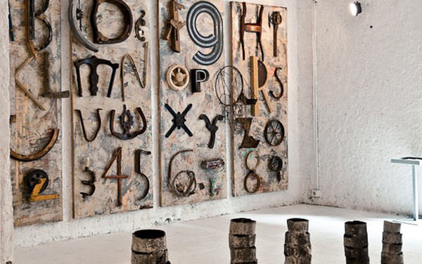 ABC Trash by Fabio De Minicis1 ABC Trash Alphabet in art  with Wood / organic typography Trash Recycled Paper & Books Metal Glass Art Alphabet