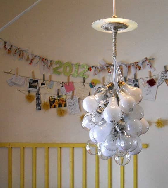 Upcycled Lightbulb Chandelier in lights diy  with Vinyls Light Bulb