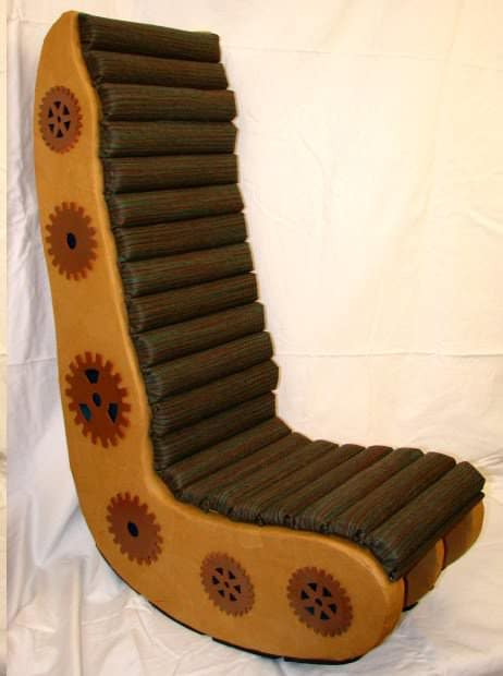 IMG 0013 Corrugated Steampunk Video Chair in furniture cardboard  with steampunk Repurposed Recycled Paper mache Furniture Chair Cardboard 