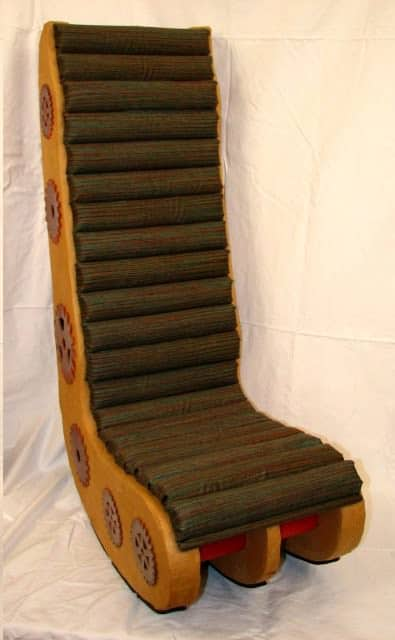 Corrugated Steampunk Video Chair in furniture cardboard  with upcycled furniture steampunk Repurposed Recycled Paper mache Chair Cardboard