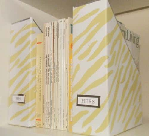 Yellow Zebra Striped Magazine Storage Boxes Do-It-Yourself Ideas Recycled Cardboard