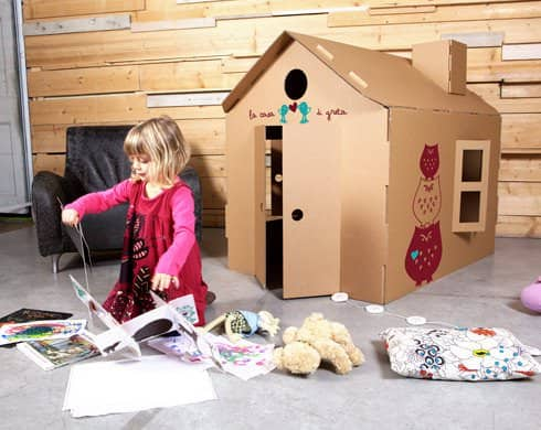 casetta Micasa playhouse in diy cardboard  with Toy Recycled Kid House Cardboard