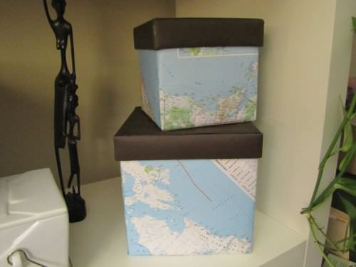 Map Covered Boxes {Tutorial}  in diy cardboard  with