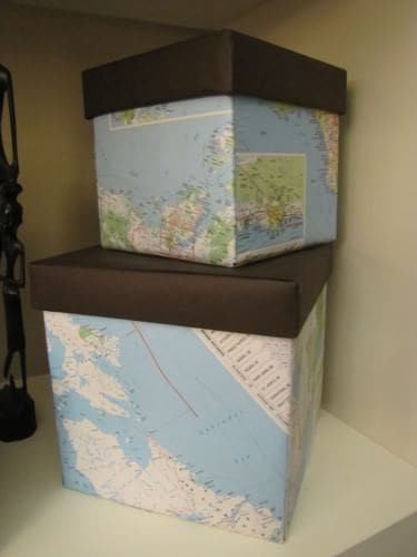 diy map covered boxes Map Covered Boxes {Tutorial}  in diy cardboard  with