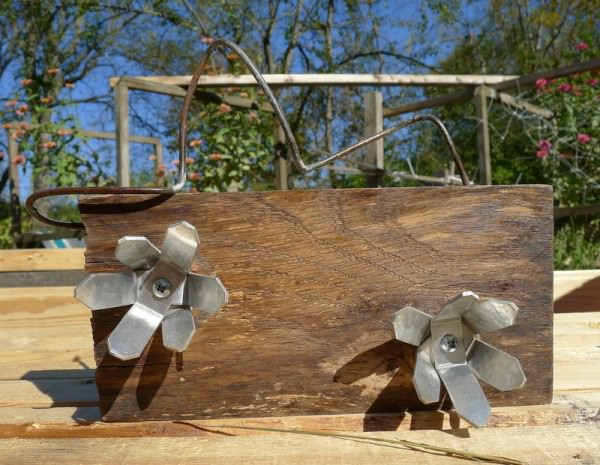 Barn Wood Metal Flower Recycled Art