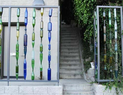 Garden fence with recycled bottles in glass architecture  with Glass Garden ideas fence Bottle