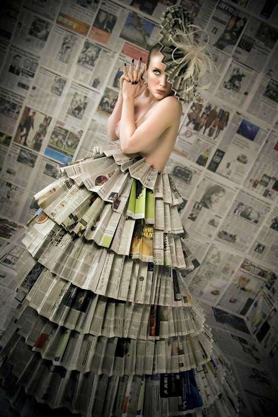 Newspaper dress Accessories Recycled Art Recycling Paper & Books