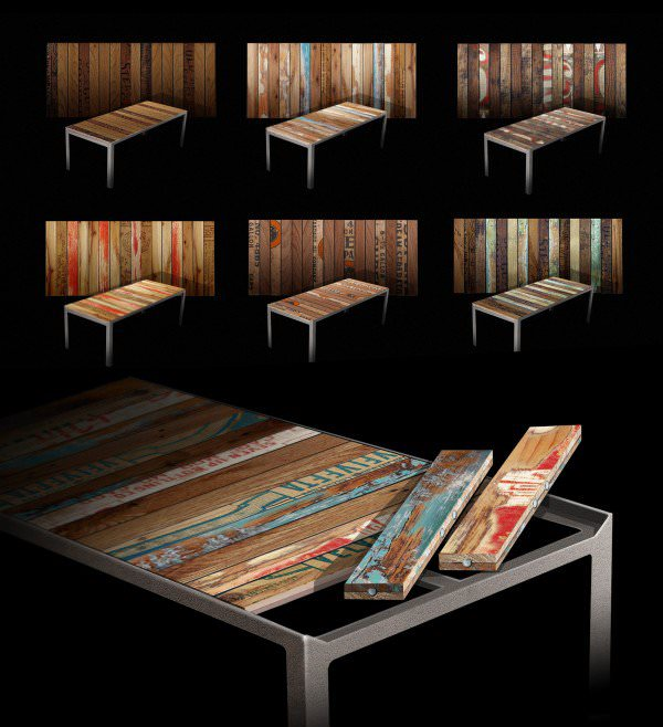 The Re|Surface Table  in wood furniture  with Wood Vintage Table patchwork modular