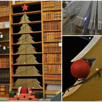 Christmas Tree Made of Useless Law Books
