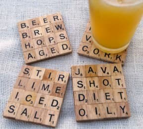 Scrabble tile coasters