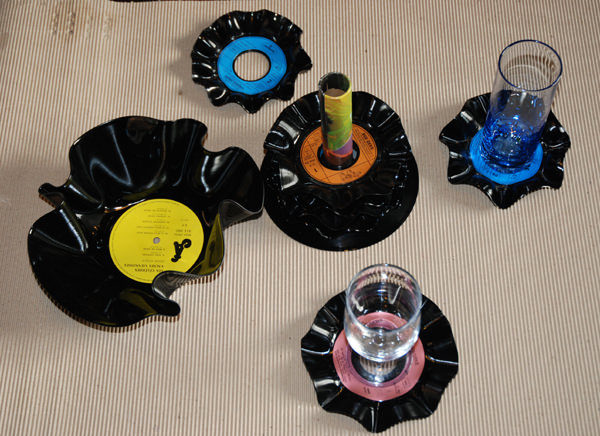set apéro Appetizer set in vinyl accessories  with Vinyl Music coasters Bowls