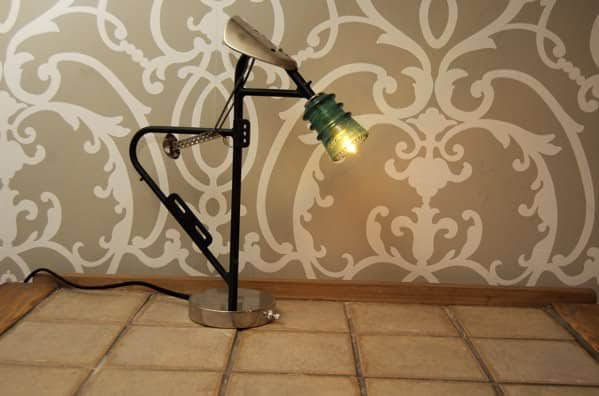 Bike Rack Lamp in lights  with Upcycled Lamp Bike